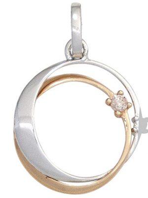 SIGO Anhänger 585 Gold Weißgold Rotgold bicolor 2 Diamanten Brillanten Goldanhänger