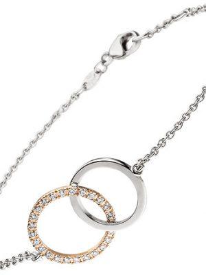 SIGO Armband 585 Gold Weißgold Rotgold bicolor 25 Diamanten Brillanten 19 cm
