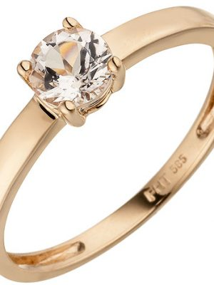SIGO Damen Ring 585 Gold Rotgold 1 Morganit rosa Goldring Morganitring