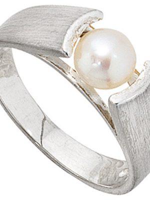 SIGO Damen Ring 925 Sterling Silber mattiert 1 Süßwasser Perle Silberring Perlenring