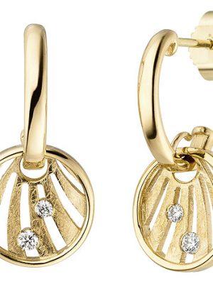 SIGO Ohrhänger 585 Gold Gelbgold eismatt 4 Diamanten Brillanten Ohrringe