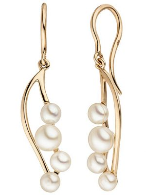 SIGO Ohrhänger 585 Gold Rotgold 8 Süßwasser Perlen Ohrringe Perlenohrringe