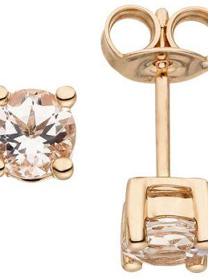 SIGO Ohrstecker 585 Gold Rotgold 2 Morganite Ohrringe Goldohrringe