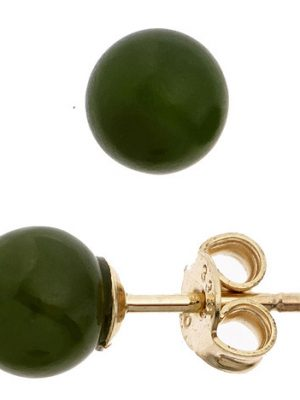 SIGO Ohrstecker Kugel 333 Gold Gelbgold 2 Jade Steine grün Ohrringe Goldohrstecker