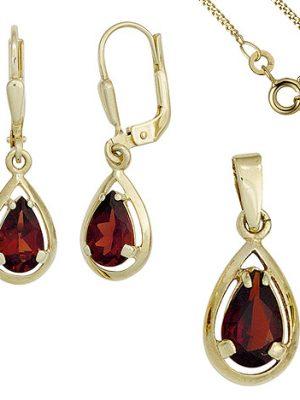 SIGO Schmuck-Set 333 Gold Gelbgold 3 Granate rot Ohrringe und Kette 42 cm