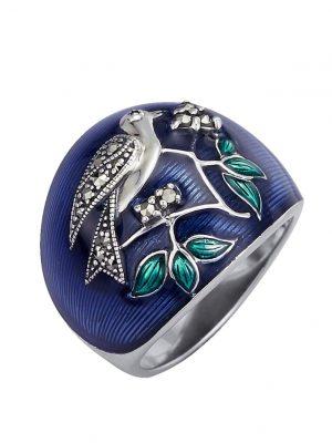 Vogel-Ring mit Markasit Esse Blau