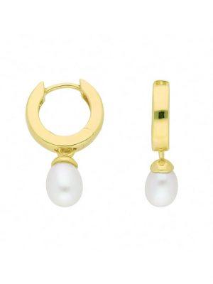 1001 Diamonds Damen Goldschmuck 333 Gold Ohrringe / Creolen mit Süßwasser Zuchtperle Ø 13,3 mm 1001 Diamonds gold