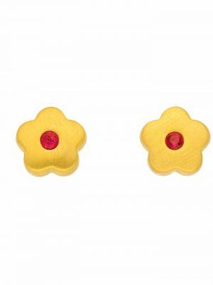 1001 Diamonds Damen Goldschmuck 333 Gold Ohrringe / Ohrstecker Blüte mit synthetischer Rubin 1001 Diamonds rot