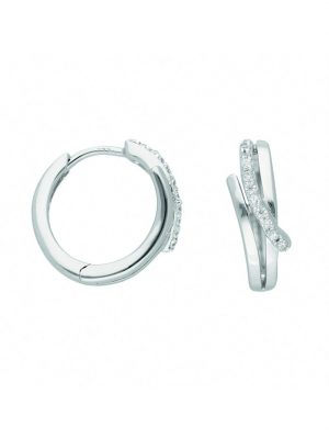 1001 Diamonds Damen Goldschmuck 333 Weißgold Ohrringe / Creolen mit Zirkonia 1001 Diamonds silber