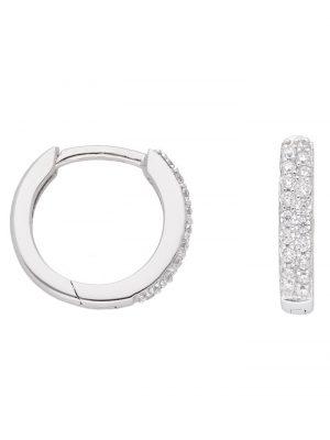 1001 Diamonds Damen Goldschmuck 333 Weißgold Ohrringe / Creolen mit Zirkonia Ø 13,1 mm 1001 Diamonds silber