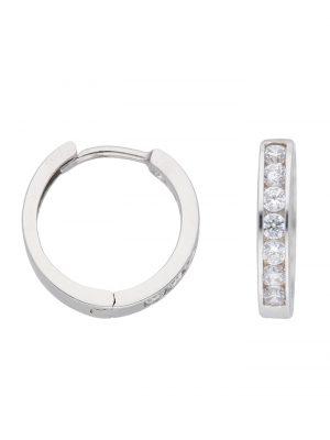 1001 Diamonds Damen Goldschmuck 333 Weißgold Ohrringe / Creolen mit Zirkonia Ø 13,6 mm 1001 Diamonds silber