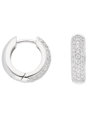 1001 Diamonds Damen Goldschmuck 333 Weißgold Ohrringe / Creolen mit Zirkonia Ø 13,9 mm 1001 Diamonds silber