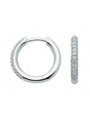 1001 Diamonds Damen Goldschmuck 333 Weißgold Ohrringe / Creolen mit Zirkonia Ø 15,1 mm 1001 Diamonds silber