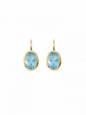 1001 Diamonds Damen Goldschmuck 585 Gold Boutons mit Aquamarin 1001 Diamonds blau
