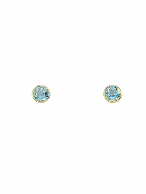 1001 Diamonds Damen Goldschmuck 585 Gold Ohrringe / Ohrstecker mit Aquamarin Ø 5,8 mm 1001 Diamonds blau