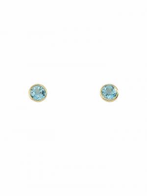 1001 Diamonds Damen Goldschmuck 585 Gold Ohrringe / Ohrstecker mit Aquamarin Ø 7,2 mm 1001 Diamonds blau