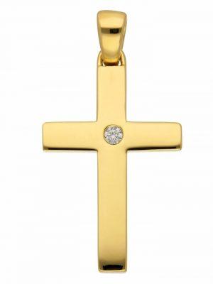 1001 Diamonds Damen & Herren Goldschmuck 585 Gold Kreuz Anhänger mit Brillant 1001 Diamonds gold