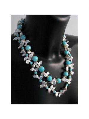 Amazonit Edelstein Halskette 1001 Diamonds blau grün