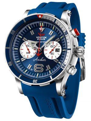 Anchar Chronograph Herrenuhr Blau mit Wechselband Vostok Europe Blau