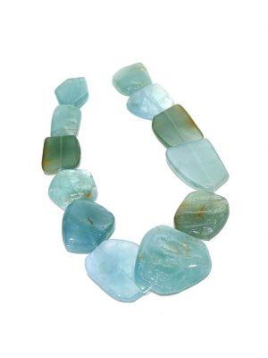 Aquamarin Edelsteinstrang rund , oval 1001 Diamonds blau