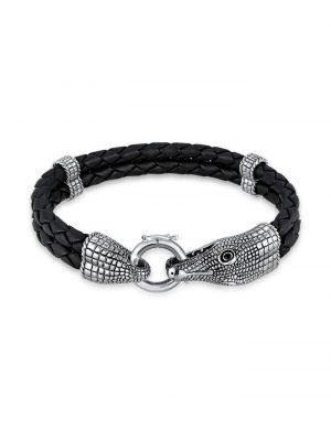 Armband Herren Lederarmband Krokodil 925 Sterling Silber Kuzzoi Silber