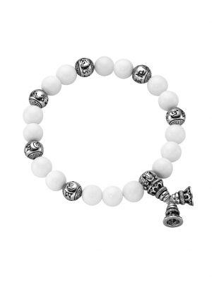 Armband weiße Achat Kugeln, tibetische Glücks-Symbole, Silber 925 Giorgio Martello Weiss