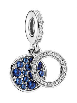 Charm-Anhänger -Funkelnde blaue Scheibe- Pandora Silberfarben