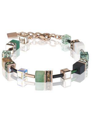 Coeur de Lion 4905/30-0510 Armband GeoCUBE® Swarovski® Edelsteine Grün Beige