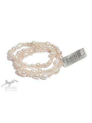 Damen Perlenschmuck 925 Silber Süsswasser Perlen Armband ( 57 cm ) DI PERLE weiß