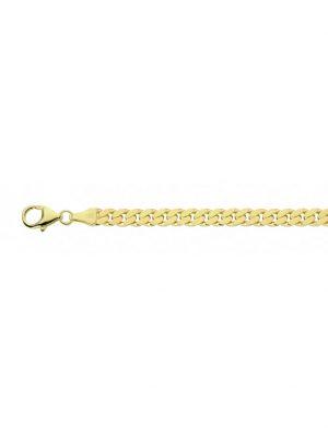 Damen Silberschmuck goldplattiert Flach Panzer Halskette 45 cm 1001 Diamonds gold