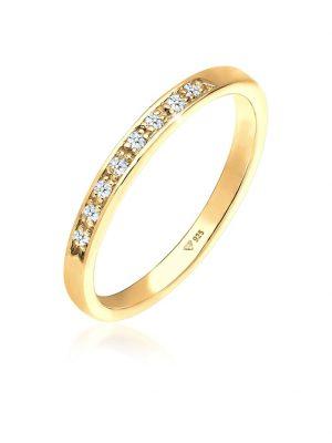 Ring Aufsteckring Funkelnd Diamant (0.08 Ct) 925 Silber Elli DIAMONDS Gelb