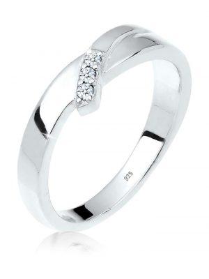 Ring Verlobung Trio Diamant (0.06 Ct.) 925 Silber Elli DIAMONDS Weiß