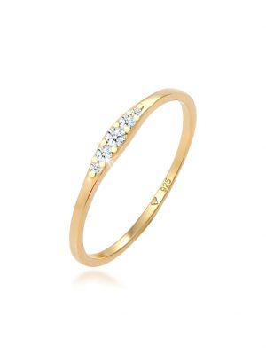 Ring Verlobungsring Diamant (0.09 Ct) Bridal 925 Silber Elli DIAMONDS Gold