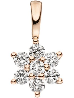 SIGO Anhänger 585 Gold Rotgold 7 Diamanten Brillanten Goldanhänger Brillantanhänger