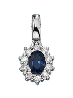 SIGO Anhänger 585 Gold Weißgold 10 Diamanten Brillanten 1 blauer Safir Goldanhänger