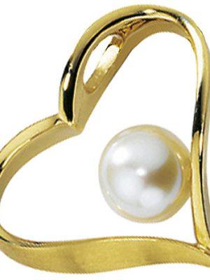 SIGO Anhänger Herz 585 Gold Gelbgold mattiert 1 Süßwasser Perle Perlenanhänger