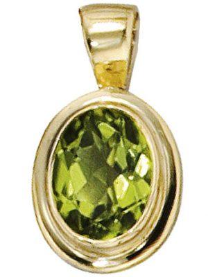 SIGO Anhänger oval 585 Gold Gelbgold 1 Peridot grün Goldanhänger