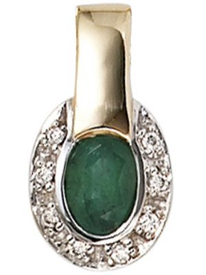 SIGO Anhänger oval 585 Gold Gelbgold bicolor 8 Diamanten Brillanten 1 Smaragd