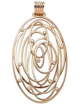 SIGO Anhänger oval 585 Gold Rotgold 12 Diamanten Brillanten 0,14ct. Rotgoldanhänger