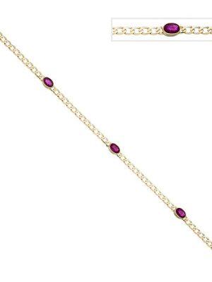 SIGO Armband 585 Gold Gelbgold 3 Rubine rot 19,5 cm Goldarmband Rubinarmband