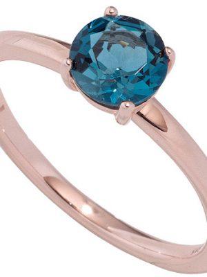 SIGO Damen Ring 585 Gold Rotgold 1 Blautopas blau London blue Goldring Rotgoldring