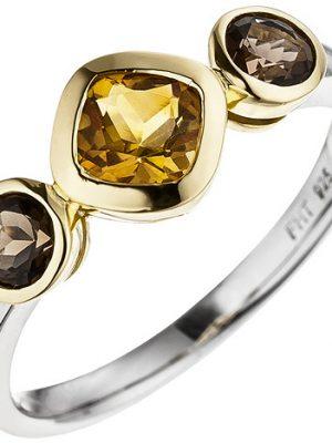 SIGO Damen Ring 925 Silber bicolor vergoldet 1 Citrin 2 Rauchquarze Silberring