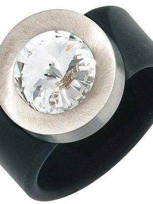 SIGO Damen Ring PVC mit Edelstahl kombiniert 1 SWAROVSKI® ELEMENT schwarz