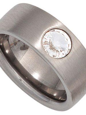 SIGO Damen Ring breit Edelstahl mattiert mit SWAROVSKI® ELEMENT
