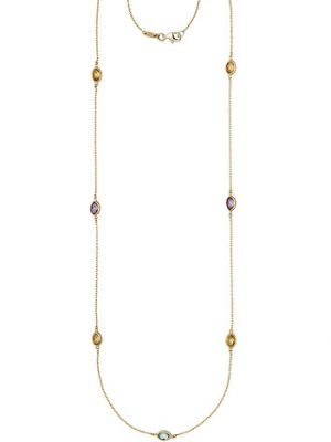 SIGO Halskette Kette lang 585 Gold Gelbgold Citrine Blautopase Amethyste 90 cm