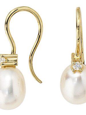 SIGO Ohrhänger 333 Gold Gelbgold 2 Süßwasser Perlen 2 Zirkonia Ohrringe Goldohrringe