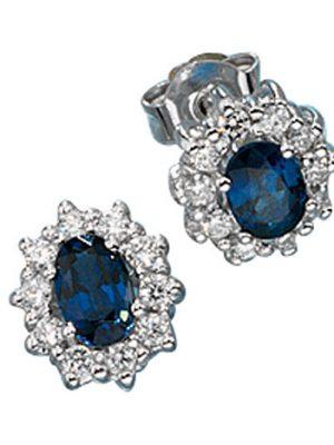 SIGO Ohrstecker 585 Gold Weißgold 20 Diamanten Brillanten 2 Safire blau Ohrringe