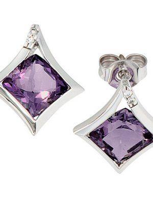 SIGO Ohrstecker 585 Gold Weißgold 4 Diamanten 2 Amethyst lila violett Ohrringe
