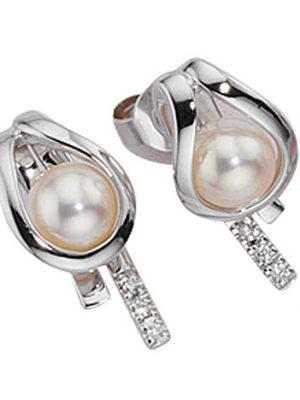 SIGO Ohrstecker 585 Gold Weißgold 6 Diamanten Brillanten 2 Süßwasser Perlen Ohrringe