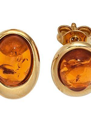 SIGO Ohrstecker oval 375 Gold Gelbgold 2 Bernsteine orange Ohrringe Bernsteinohrringe